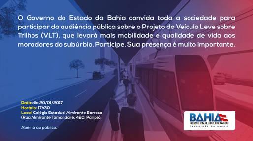 Audiência pública vai discutir implantação do VLT